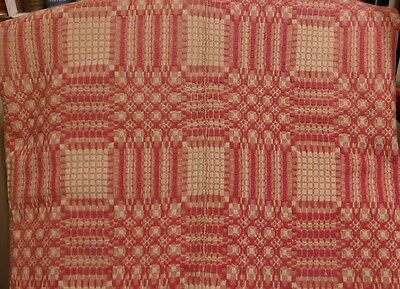 """Rare Antique Geometric Overshot Coverlet Woven Wool Ivory & Pink  62"""" x 86"""""""