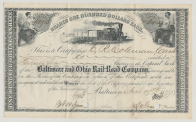 Baltimore and Ohio Rail-Road Company. 1879. Issued/Signed/Cancelled.