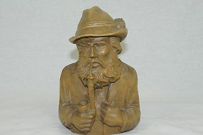 Vintage Wood Hand Carved Swiss Or German Man Smoking A Pipe Bust Sculpture