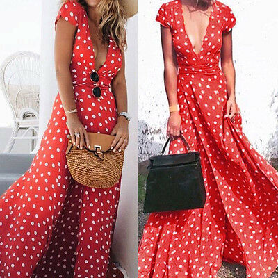 Ladies Boho Women Summer Evening Cocktail Party Beach Long Maxi Dress Floral Red