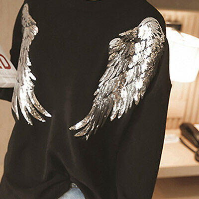Top 1Pair Decor Angel Wings Sequins Iron-On Embroidered Patch Applique Motif