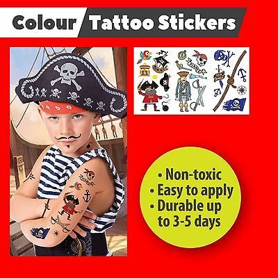 Temporary Colour Tattoos Stickers Party Bags Pirates Robot Gift for Boys Gift
