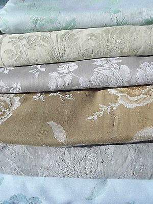 Bundle Vintage French Fabric Pieces Scraps Blocks Woven Damask Linen cutter
