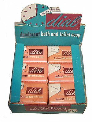 Vintage 1960's Full Box Dial Deodorant Soap NOS NIB 12 Bars Facial Liquid MkOfr
