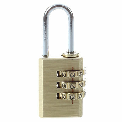 3-D Brass Resettable Combination Padlock Backpack Luggage T8Y8