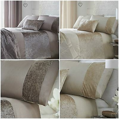 Luxury Boulevard Crushed Velvet Duvet Quilt Cover Bedding Sets - Oyster or Mink