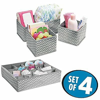 4 Pc Chevron Fabric Storage Organizer Box Set Kit For Baby Nursery Accessories