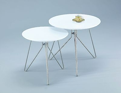 Aspect Alegro Round Side Coffee End Lamp Table Wood White Set of 2 High Quality
