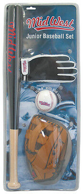 Midwest Junior Baseball Starter Set Batting Glove Catching Mitt Bat & Ball