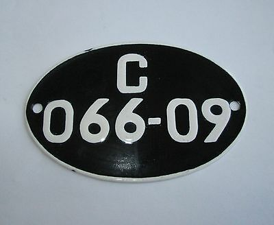 post WW2 VINTAGE MOTORCYCLE ENAMEL PORCELAIN on IRON LICENSE NUMBER PLATE SIGN