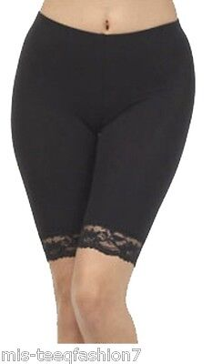Womens Floral Lace SHORTS Cotton Leggings UK Sizes 8-28