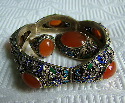 Vintage Chinese Silver Enamel Gemstones Jewelry Set - Bracelet, Ring, Brooch