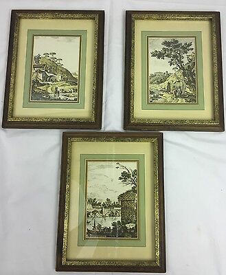 """Lot of 3 Framed Mid Century Prints English Countryside 8"""" x 10"""""""