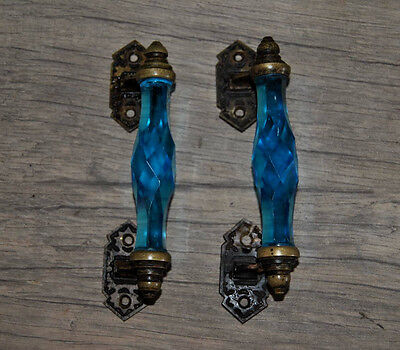 NICE Orig VTG BRASS AQUA BLUE Glass Church Art Deco Victorian Door Handle pr
