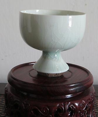 Chinese Song High Footring Porcelain Cup With Thin Pale-Blue Glaze