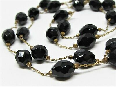 Antique Victorian Faceted Carved Whitby Jet Bead and Long Brass Chain Necklace