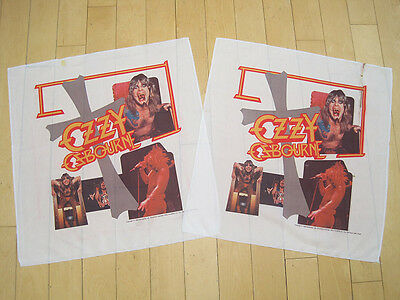 LOT!! two 80s vtg OZZY OSBOURNE banner FLAG poster ART tapestry music METAL NOS