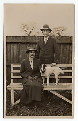 Lady Gentleman And Fox Terrier Dog Real Photo Postcard From 1921