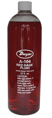 """Dwyer A-104 Red Gauge Fluid 1qt. For Inclined and """"D"""" Type Vertical Manometers."""