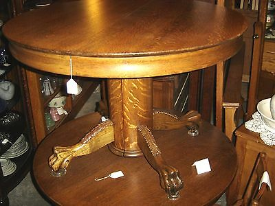"""Antique Quarter-Sawn Oak 45"""" Round Claw-footed Table with 2 Leaves. 7626"""