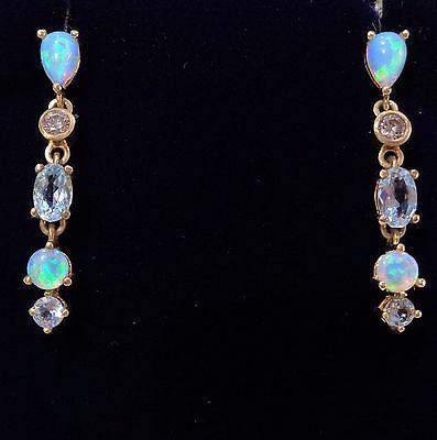 Opal, Blue Topaz and Diamond Drop Earrings in 9ct Yellow Gold