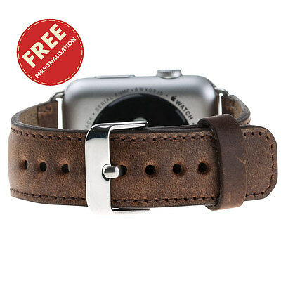 Personalised 44mm 42mm 40mm 38mm Apple Watch iWatch Band Genuine Leather Strap