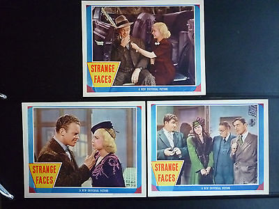 1938 Strange Faces - 7 Near Mint Lobby Cards - Andy Devine + Dorothea Kent