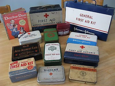 Wow - Lot Of 12 Vintage Johnson & Johnson First Aid Kits - 7 W/ Contents - Nice!