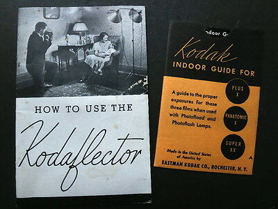 2 Kodak Camera Accessories - Indoor Exposure Guide & Kodaflector Booklet, 1930s