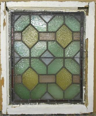 "VICTORIAN ENGLISH LEADED STAINED GLASS WINDOW Stunning Geometric 20.5"" x 24.5"""