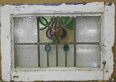 "MID SIZED OLD ENGLISH LEADED STAINED GLASS WINDOW Stunning Floral 23"" x 16"""