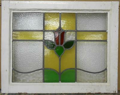 "MID SIZED OLD ENGLISH LEADED STAINED GLASS WINDOW Sweet Floral 24.25"" x 19.25"""