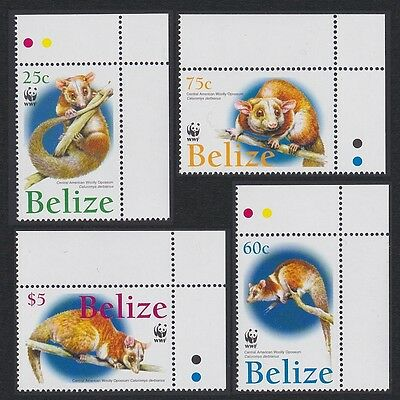 Belize WWF American Woolly Opossum 4v Top Right Corners SG#1315/18 SC#1177-80