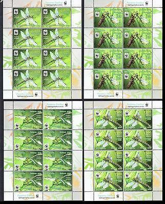 Belarus WWF Dragonfly Green Snaketail 4 Sheetlets of 8v SG#824/27 SC#737-40