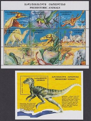 Georgia Dinosaurs Sheetlet of 9v+MS SG#MS120+139/47 SC#135-136