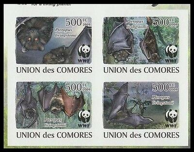 Comoro Is. WWF Livingstone's Fruit Bat 4 imperforated stamps in block 2*2