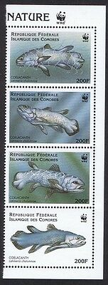 Comoro Is. WWF Coelacanth Right Strip of 4v with WWF Logo SC#833 a-d MI#1261-64