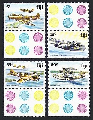 Fiji Airplanes World War II 4v with labels SG#624/27 SC#454-457