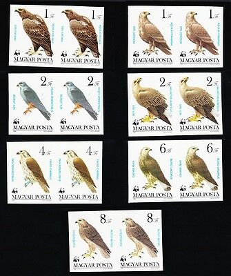 Hungary WWF Birds of Prey 7 stamps imperf pairs SG#3507/13 SC#2797-803