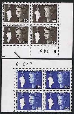 Greenland Queen Margrethe II corner blocks with Control Numbers SG#114//117