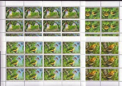 Cook Is. WWF Birds 4 Full Sheets of 12 stamps SG#1222/25 SC#1016-19 MI#1278-81