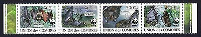 Comoro Is. WWF Livingstone's Fruit Bat Strip of 4v MI#2212-15