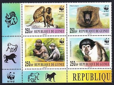 Guinea WWF Mangabey & Baboon Bottom left block 2*2 with WWF Logo