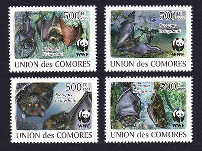 Comoro Is. WWF Livingstone's Fruit Bat 4v MI#2212-15