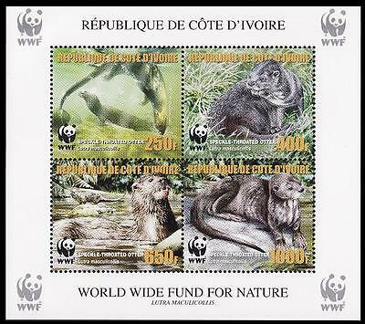 Ivory Coast WWF Speckle-throated Otter Souvenir Sheet perforated with error