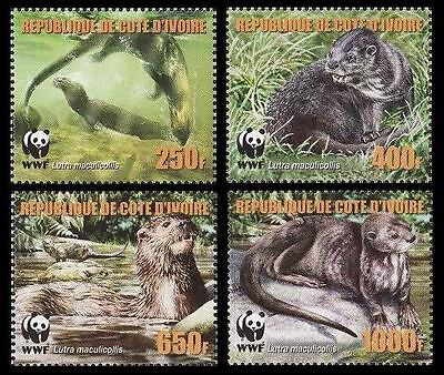 Ivory Coast WWF Speckle-throated Otter 4v reprint MI#1353A-56A