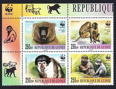Guinea WWF Mangabey & Baboon Upper Left block 2*2 with WWF Logo
