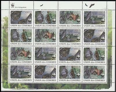 Comoro Is. WWF Livingstone's Fruit Bat Sheetlet of 4 sets /16 stamps MI#2212-15