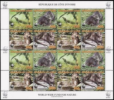 Ivory Coast WWF Speckle-throated Otter Sheetlet of 4 sets reprint MI#1353A-56A