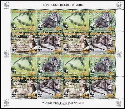 Ivory Coast WWF Speckle-throated Otter Sheetlet of 4 sets with error